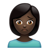 Person Frowning: Dark Skin Tone on WhatsApp 2.19.352