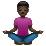 Person in Lotus Position: Dark Skin Tone on WhatsApp 2.19.352