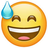 Grinning Face with Sweat on WhatsApp 2.19.352