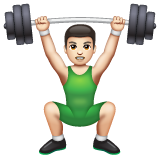 Person Lifting Weights: Light Skin Tone on WhatsApp 2.19.352