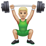 Person Lifting Weights: Medium-Light Skin Tone on WhatsApp 2.19.352