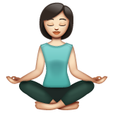 Woman in Lotus Position: Light Skin Tone on WhatsApp 2.19.352