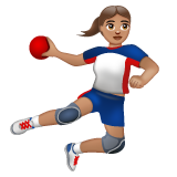 Woman Playing Handball: Medium Skin Tone on WhatsApp 2.19.352