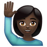 Woman Raising Hand: Dark Skin Tone on WhatsApp 2.19.352