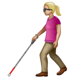 Woman with White Cane: Medium-Light Skin Tone on WhatsApp 2.19.352