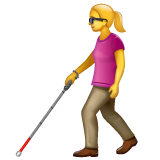 Woman with White Cane on WhatsApp 2.19.352