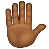 Raised Hand: Medium-Dark Skin Tone on WhatsApp 2.20.206.24