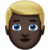 Man: Dark Skin Tone, Blond Hair