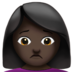 Woman Frowning: Dark Skin Tone