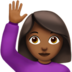 Woman Raising Hand: Medium-Dark Skin Tone
