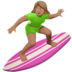 Woman Surfing: Medium Skin Tone