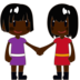Women Holding Hands: Dark Skin Tone