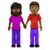 Woman and Man Holding Hands: Dark Skin Tone, Medium-Dark Skin Tone