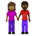 Woman and Man Holding Hands: Medium-Dark Skin Tone, Dark Skin Tone
