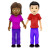 Woman and Man Holding Hands: Medium-Dark Skin Tone, Light Skin Tone