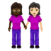 Women Holding Hands: Dark Skin Tone, Light Skin Tone