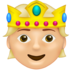 Person with Crown: Medium-Light Skin Tone