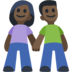 Woman and Man Holding Hands: Dark Skin Tone