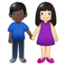Woman and Man Holding Hands: Light Skin Tone, Dark Skin Tone