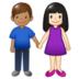 Woman and Man Holding Hands: Light Skin Tone, Medium Skin Tone