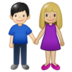 Woman and Man Holding Hands: Medium-Light Skin Tone, Light Skin Tone