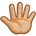 Reversed Raised Hand with Fingers Splayed + Emoji Modifier Fitzpatrick Type-3