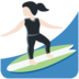 Woman Surfing: Light Skin Tone