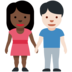 Woman and Man Holding Hands: Dark Skin Tone, Light Skin Tone